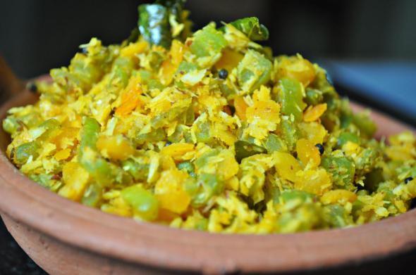 Padavalanga Thoran, snake gourd with coconut, kerala veg recipe, veg dry recipe