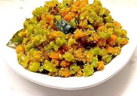 beans carrot thoran, beans carrot stir fry, beans carrot kerala style